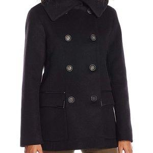 NWT! Mackage The Phoebe Wool Pea Coat Black